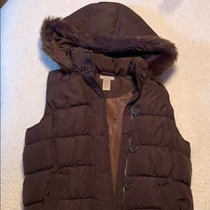 Arizona Jean company puffy vest w/ fur lined hood